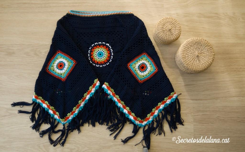poncho tejido hippie